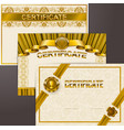 set of elegant templates of diploma lace ornament vector image