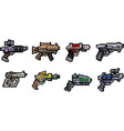 set of weapon icons in pixel style vector image