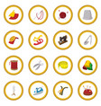 sewing cartoon icon circle vector image vector image