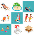 summer set travel elements sandy beach flat vector image