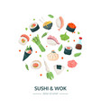 sushi and wok - colorful flat design style banner vector image