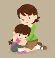 teacher hugs comfort girl vector image vector image