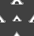 The tent icon sign Seamless pattern on a gray vector image