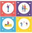 young people resting in park cartoon banner set vector image vector image