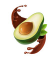 sliced avocado in chocolate smoothie splash vector image