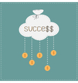Bag cloud and hanging coins with dollar sign vector image