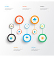 air icons flat style set with crescent frost vector image