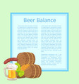 beer balance poster with light blue background vector image vector image