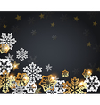 Black Christmas background with golden snowflakes vector image vector image