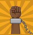 black hand and chain broken freedom concept vector image vector image