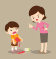 boys stained at the shirt mom scold vector image