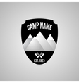 Camping mountain logo with crossed axe Labels and vector image vector image