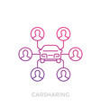 carsharing icon on white linear vector image vector image