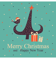 christmas greeting card with tree and bird vector image