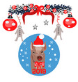 christmas poster with image a pig portrait in vector image vector image