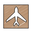 color pencil drawing square frame with airplane vector image vector image
