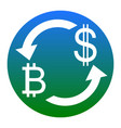 currency exchange sign bitcoin and us dollar vector image