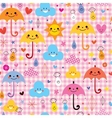 cute umbrellas raindrops flowers clouds characters vector image vector image