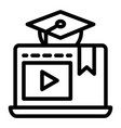 e-learning line icon home education vector image vector image