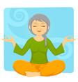 elder woman meditating vector image vector image