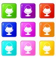 glass ice cream icons set 9 color collection vector image vector image