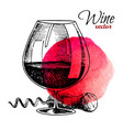 glass wine and corkscrew black vintage vector image