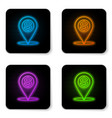 glowing neon cash location pin icon isolated on vector image