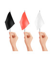hands holding flags isolated red black white vector image vector image