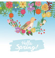 hello spring bird on branch flowers cute nature vector image