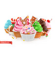 holiday sweet dessert cake cupcake 3d realistic vector image vector image