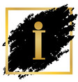 info sign golden icon at black spot vector image vector image