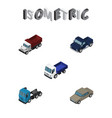 isometric automobile set of truck lorry auto and vector image vector image