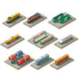 Isometric trains and cars vector image