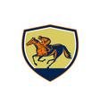 Jockey Horse Racing Shield Woodcut vector image vector image