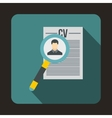 Magnifying glass over curriculum vita icon vector image vector image