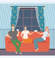 man and woman sitting on sofa leisure vector image