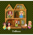 Modern three-storey dolls house with six dolls vector image vector image