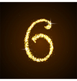 Number six of gold glittering stars vector image