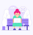 old woman chatting on social media in park vector image