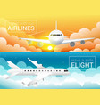 passenger airplane at sunset sky cloudssafe vector image vector image