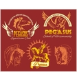Pegasus and horses vintage labels badges vector image vector image
