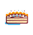 piece of layered delicious cake with chocolate and vector image vector image