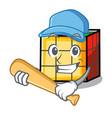 playing baseball rubik cube character cartoon vector image