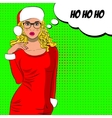 Pop art cute mrs claus with bubble sign vector image vector image
