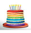 rainbow birthday cake vector image