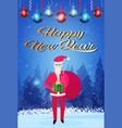 santa claus holding gift box sack happy new year vector image