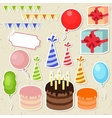 set birthday party elements for scrapbooking vector image