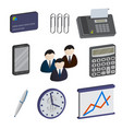 set of isometric business items isolated on a vector image