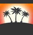 silhouette palm tree on beach vector image