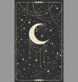 tarot card with a crescent moon and stars magic vector image vector image